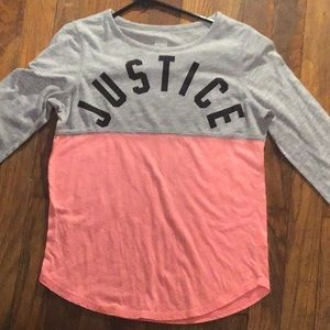 Justice peach and gray long sleeve shirt